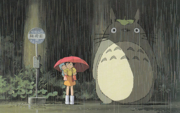 Totoro in the rain, Studio Ghibli. Source: @cinekatz's website (http://cinekatz.com/my-neighbor-totoro-or-why-i-love-cats-so-much-review/)