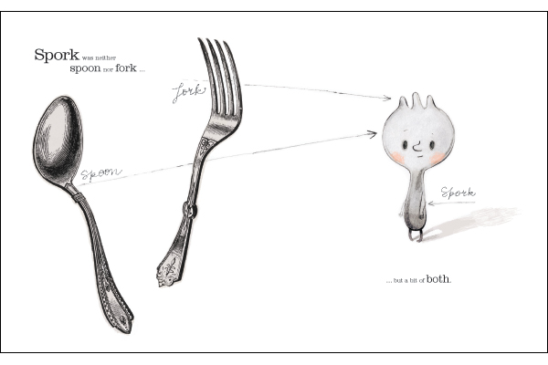 "Artwork for Spork by  Isabelle Arsenault (Image sourced from ""Books my boys love"": http://booksmyboyslove.wordpress.com/2012/04/20/spork-by-kyo-maclear)"