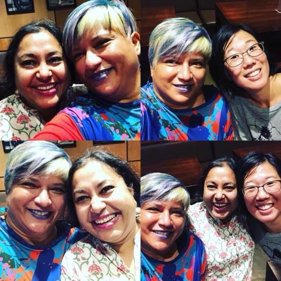 Ruth de Souza's awesome foursome: (top left) Mridula + Ruth; (top right) Ruth + Jess; (bottom left) Ruth + Mridula; (bottom right) Ruth, Mridula + Jess