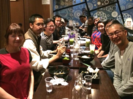 Table-shot of the first Melbourne AASRN meetup for 2018: (left from front) Gay, Austin, Tseen, Steven, Adam, Fia; (right from back) Sreejata's friend, Sreejata, Ruth, Helen, Jess, Som. Photo taken by Mridula.