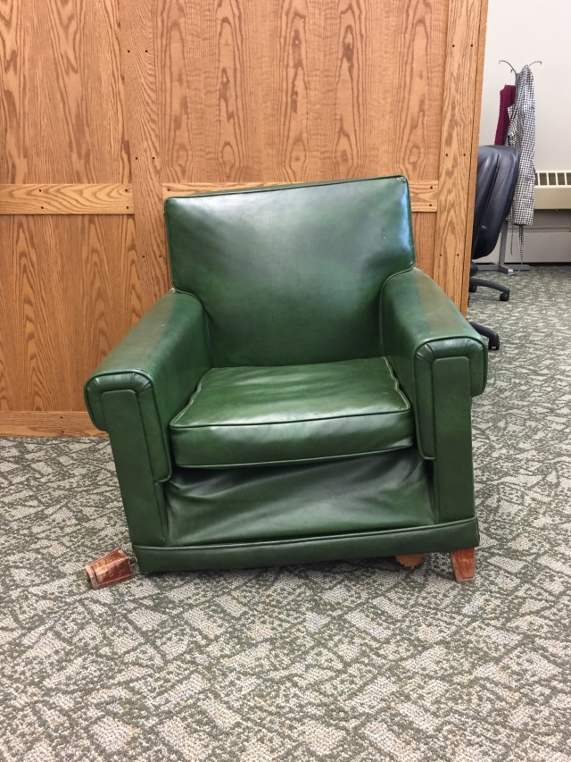 "#sadchairsofacademia from UCincinnati: ""Fundamentally flawed, no-one knows how it got here, still here only because of inertia. #gradstudentmetaphor"" (from Chris) 